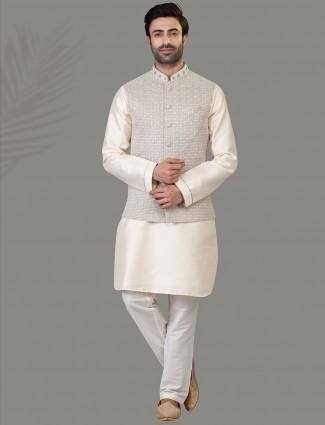Grey and cream silk mens waistcoat set