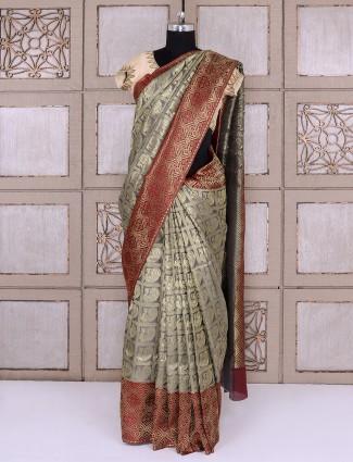 Grey and maroon color silk saree