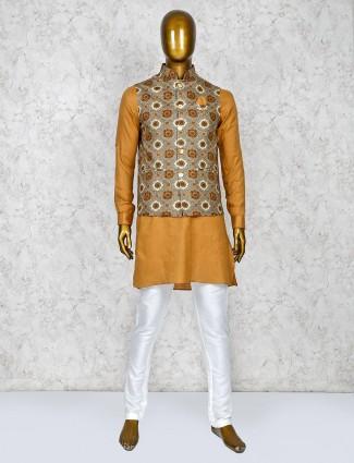 Grey and mustard terry rayon printed waistcoat set