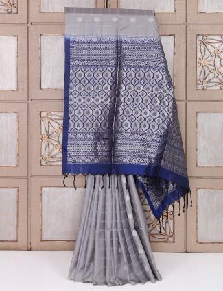 Grey and navy color silk saree