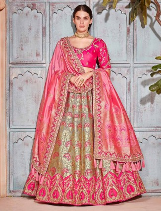 Grey and pink banarasi silk semi stitched lehenga choli