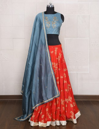 Grey and red color silk party lehenga choli