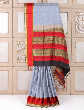 Grey and red color silk saree