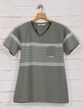 Grey casual graphic casual top in cotton