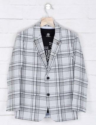 Grey checks patern terry rayon blazer