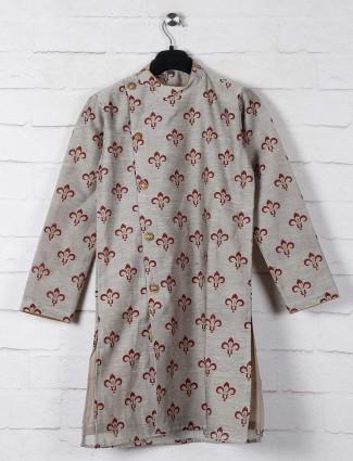 Grey classic printed cotton kurta suit