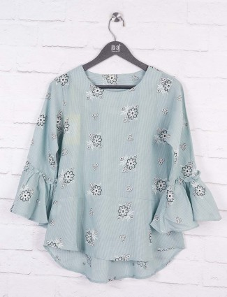 Grey color cotton casual top