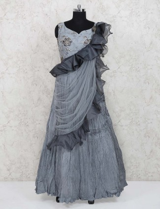 Grey color cotton silk fabric designer gown