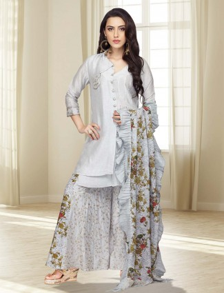 Grey color cotton silk fabric punjabi palazzo suit