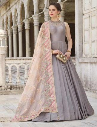 Grey color cotton silk floor length anarkali suit