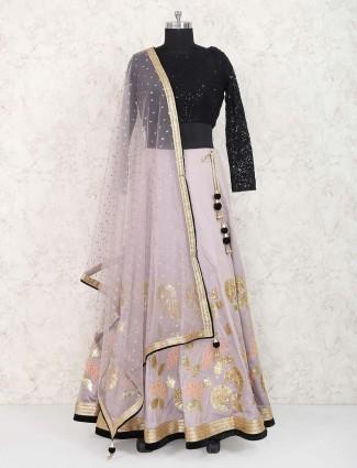 Grey color cotton silk lehenga choli
