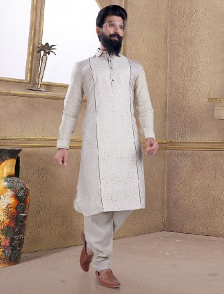 Grey color cotton silk pathani suit