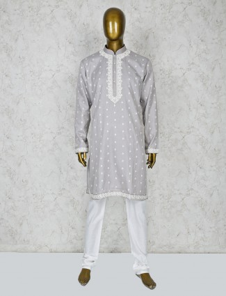 Grey color cotton silk stand collar kurta suit