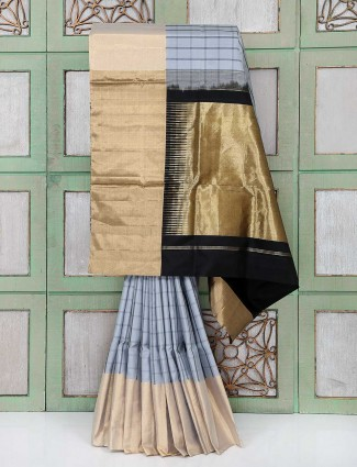 Grey color designer party wear silk saree