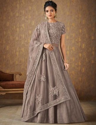 Grey color floor length anarkali suit for party