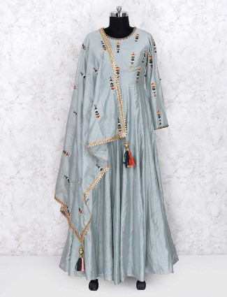 Grey color lovely silk fabric floor length anarkali salwar suit