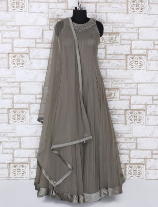 Grey color net fabric party wear anarkali suit