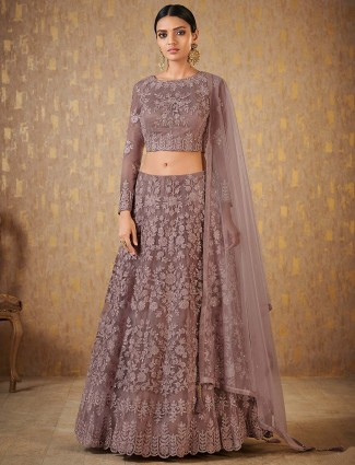Grey color net lehenga choli for party function