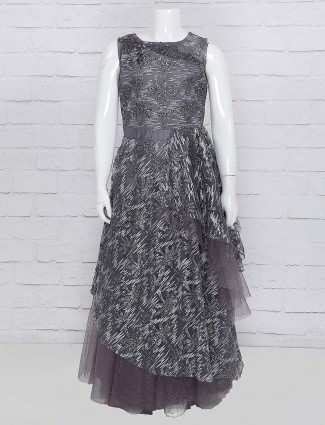 Grey color party gown in net fabric