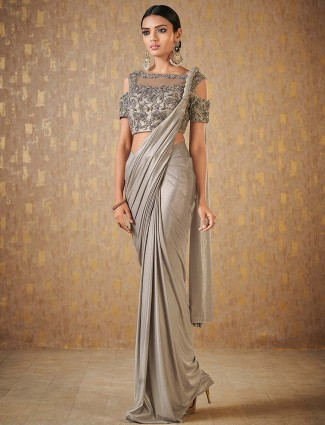 Grey color party wear shimmer ready to wear saree