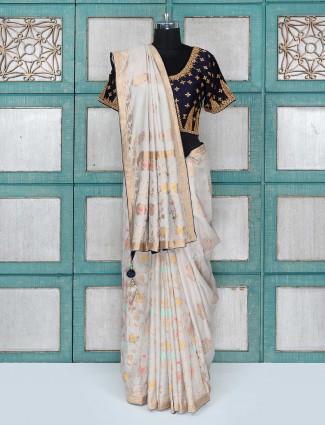 Grey color party wear silk fabric saree