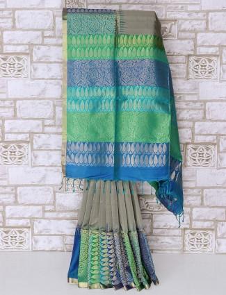 Grey color silk fabric awesome saree
