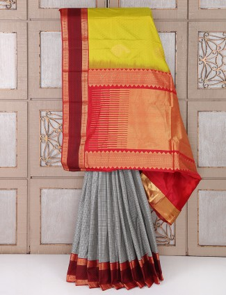 Grey color silk fabric saree