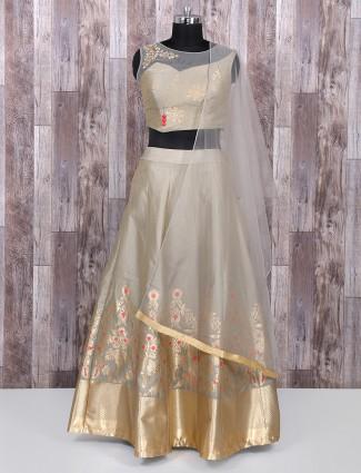 Grey color silk lehenga choli for festive wear