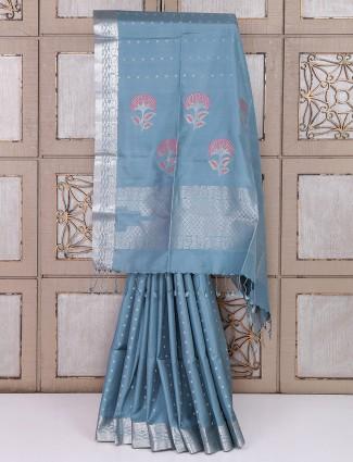 Grey color simple silk saree
