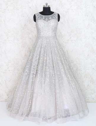 Grey colored net fabric floor length gown