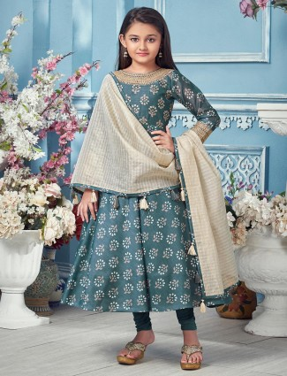 Grey cotton anarkali suit for girls