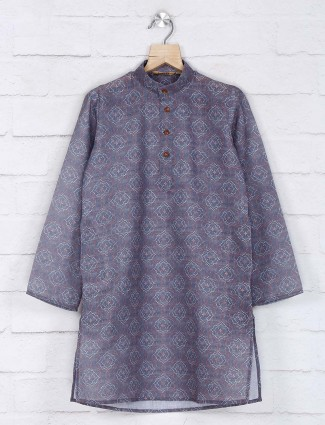 Grey cotton boys kurta suit