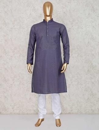 Grey cotton mens kurta suit