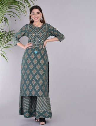 Grey cotton palazzo set in casual