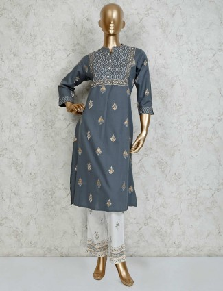 Grey cotton printed zari weaving pant suit