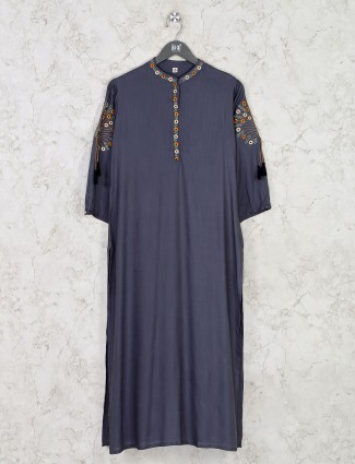 Grey cotton quarter sleeves kurti