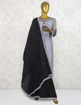 Grey cotton silk festive function punjabi palazzo set