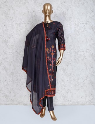 Grey cotton silk festive punjabi pant suit