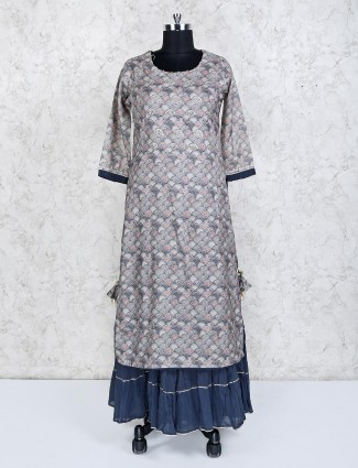 Grey cotton silk festive salwar suit