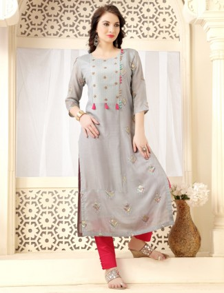Grey cotton silk festive wear long kurti