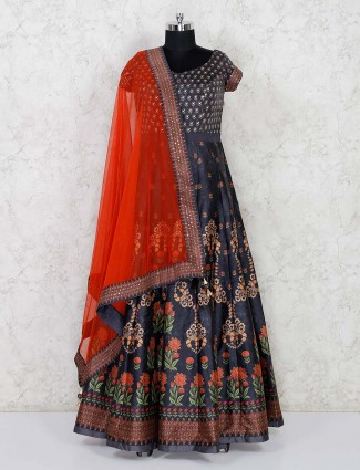 Grey cotton silk party function anarkali suit