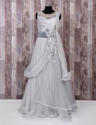 Grey designer net fabric gown