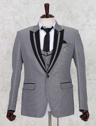 Grey designer terry rayon fabroc coat suit