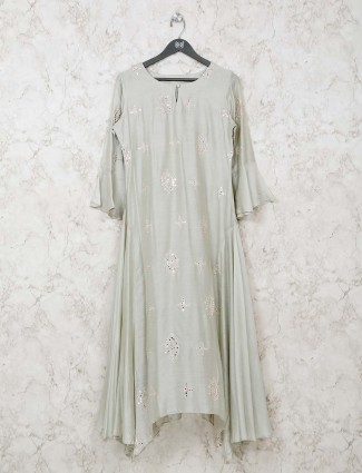 Grey festive wear round neck cotton kurti