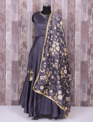 Grey festivewear anarkali suit