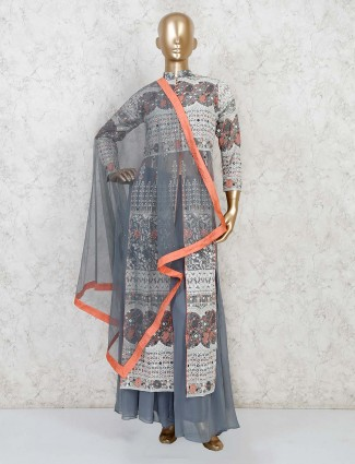 Grey georgette designer party wear palazzo suit