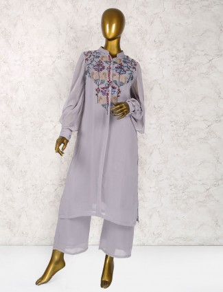 Grey georgette festive wear punjabi salwar suit