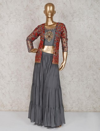 Grey georgette jacket style crop top lehenga suit