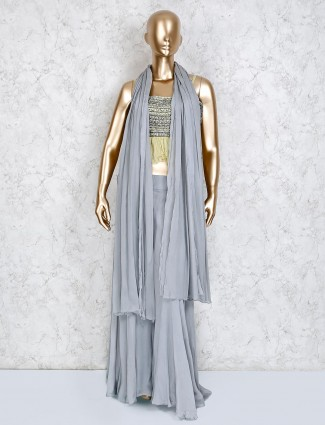 Grey georgette party wear palazzo suit