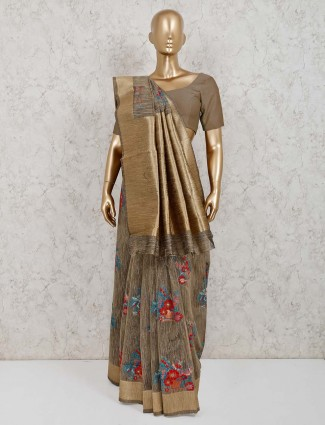 Grey handloom cotton silk saree